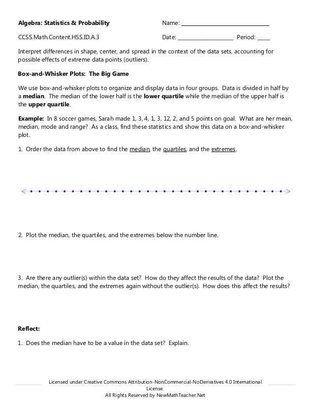Double Box And Whisker Plot Worksheet Karibunicollies – Box and Whisker Plots Worksheets