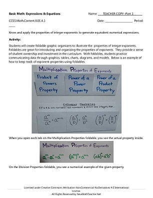 New Math Teacher: Resources including Math Lessons, Activities ...